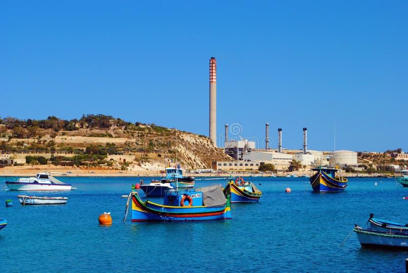 Landskap från Marsaxlokk, Malta arkivbild