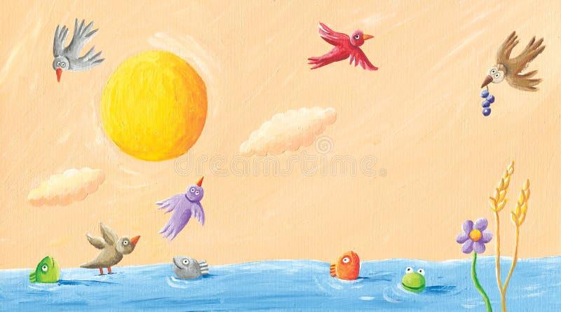 Landskap - grodor, fåglar och fisk i dammet vektor illustrationer