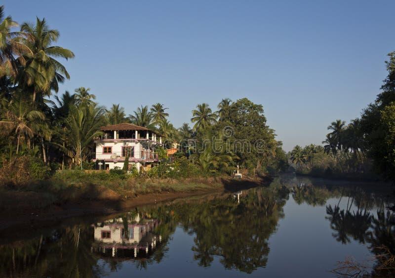 Landskap: hus i palmträden royaltyfria foton