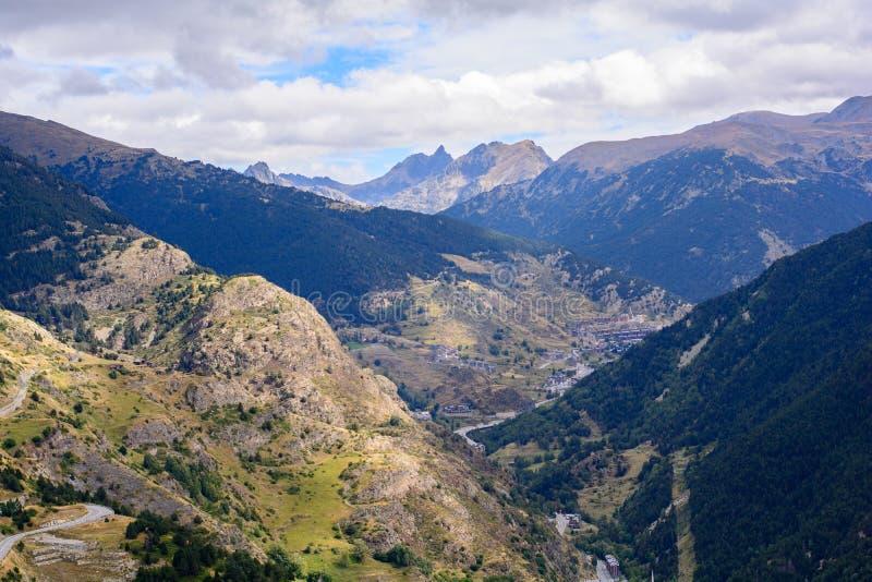 Landskap i Canillo, Andorra arkivbilder