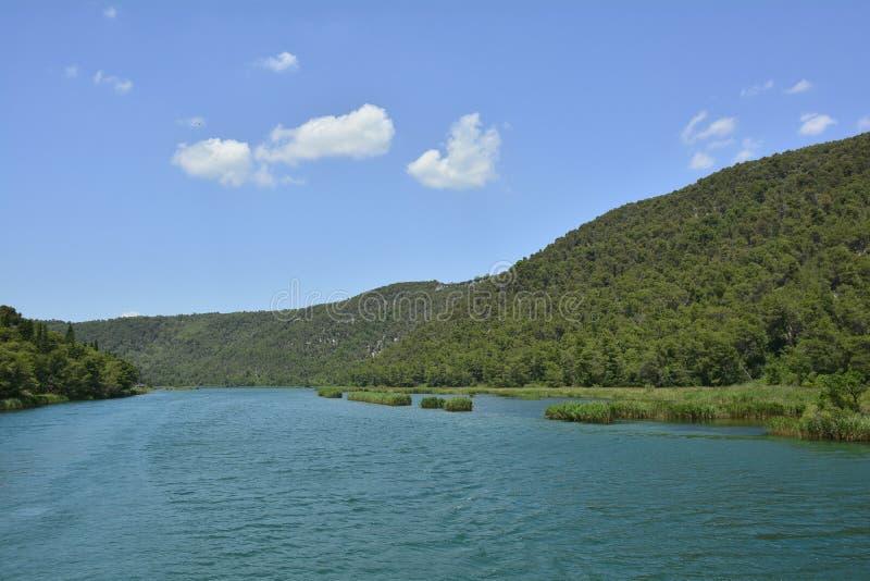 Landskap i den Krka nationalparken royaltyfria bilder