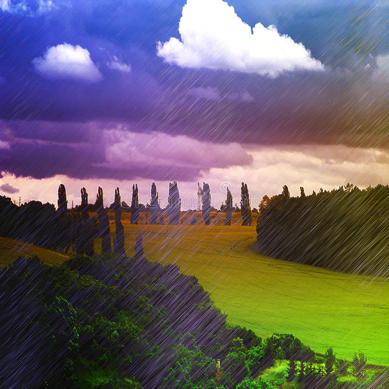 Landskap i italiensk stil med flöden av regn och ängen royaltyfri foto