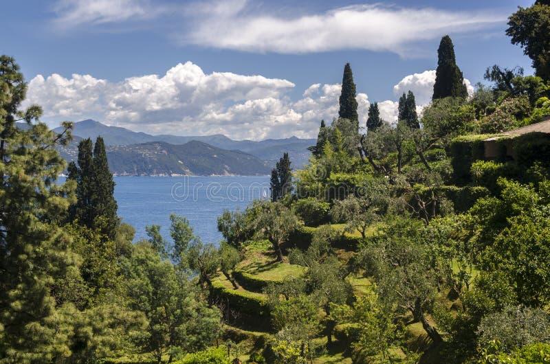 Landskap i Portofino arkivfoto