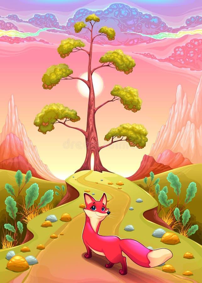 Landskap i solnedgången med räven royaltyfri illustrationer