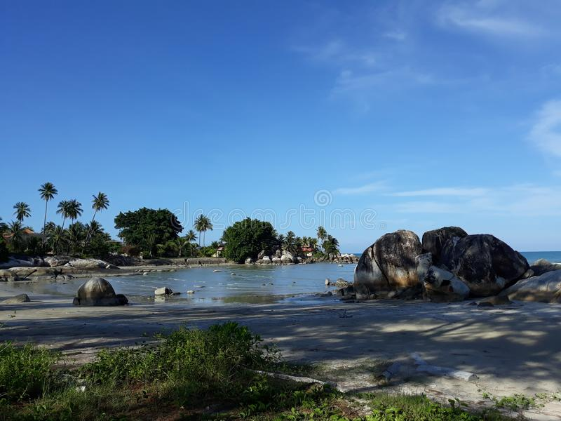 Landskap i stranden Parai Tenggiri arkivfoton
