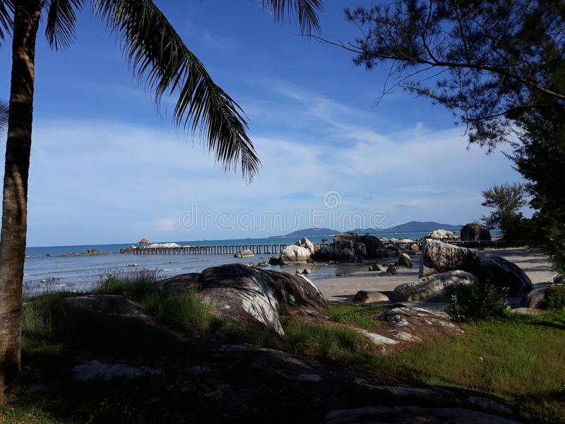 Landskap i stranden Parai Tenggiri arkivbilder