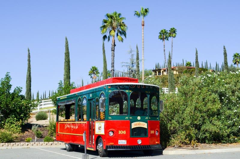 Landskap i Temecula Kalifornien med en spårvagn royaltyfri bild