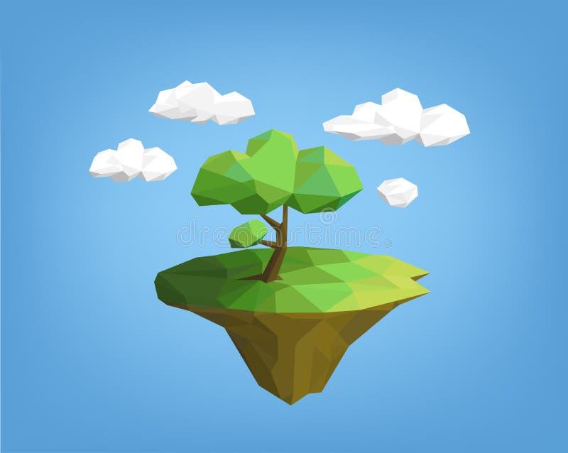 Landskap låg poly stil - träd på ön royaltyfri illustrationer