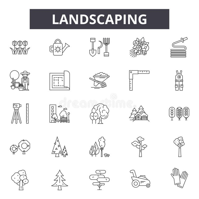 Landskap linjen symboler, tecken, vektoruppsättning, översiktsillustrationbegrepp stock illustrationer