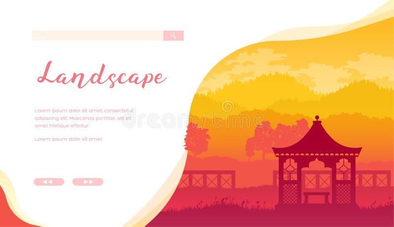 Landskap mallen för sida för servicevektorlandning vektor illustrationer
