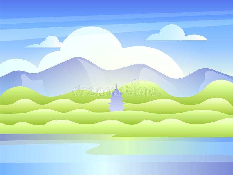 Landskap med berg, sjön och den östliga pagoden royaltyfri illustrationer