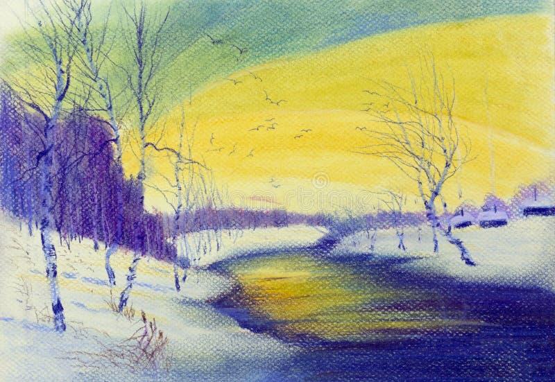 Landskap med björkträd och floden stock illustrationer