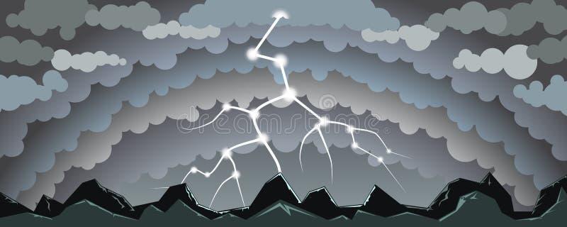 Landskap med blixt stock illustrationer