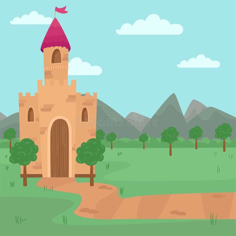 Landskap med den felika medeltida slottvektorillustrationen, beståndsdel för sagaberättelsen för barnvektorillustration royaltyfri illustrationer
