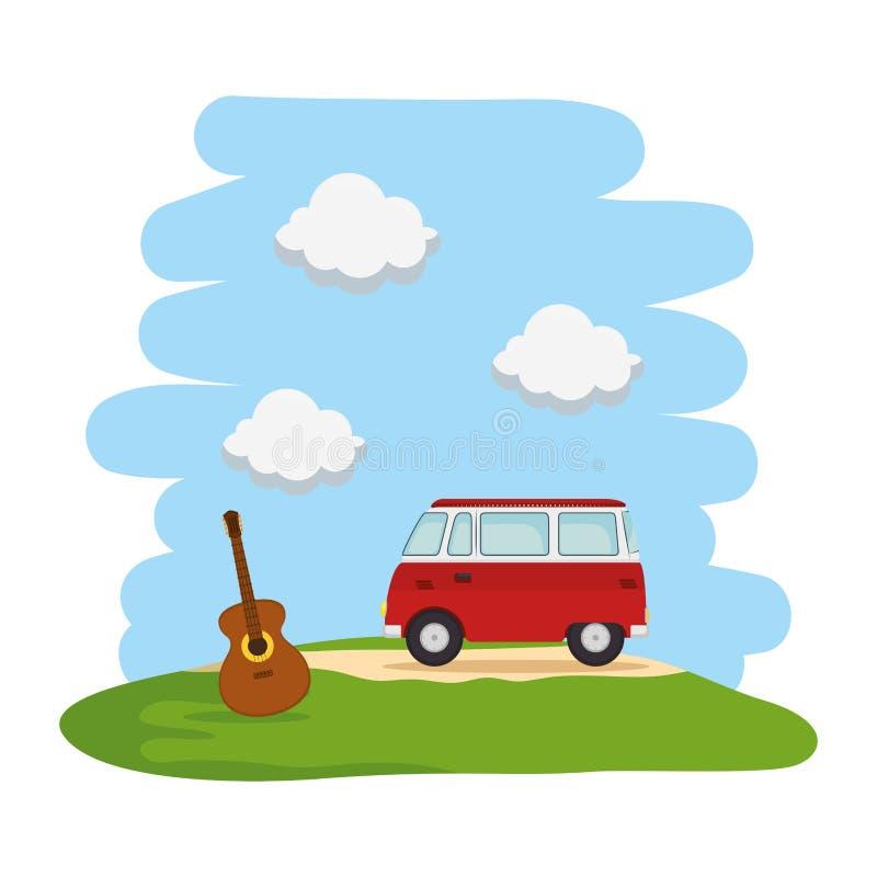 Landskap med den hippy skåpbilen och gitarren vektor illustrationer