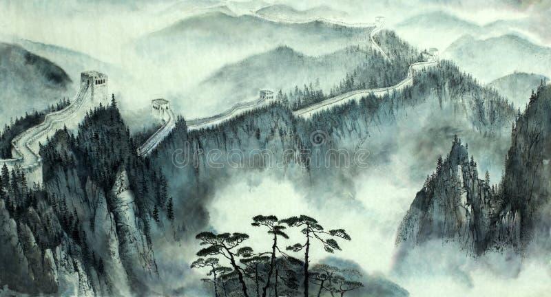 Landskap med den stora kinesiska väggen royaltyfri illustrationer