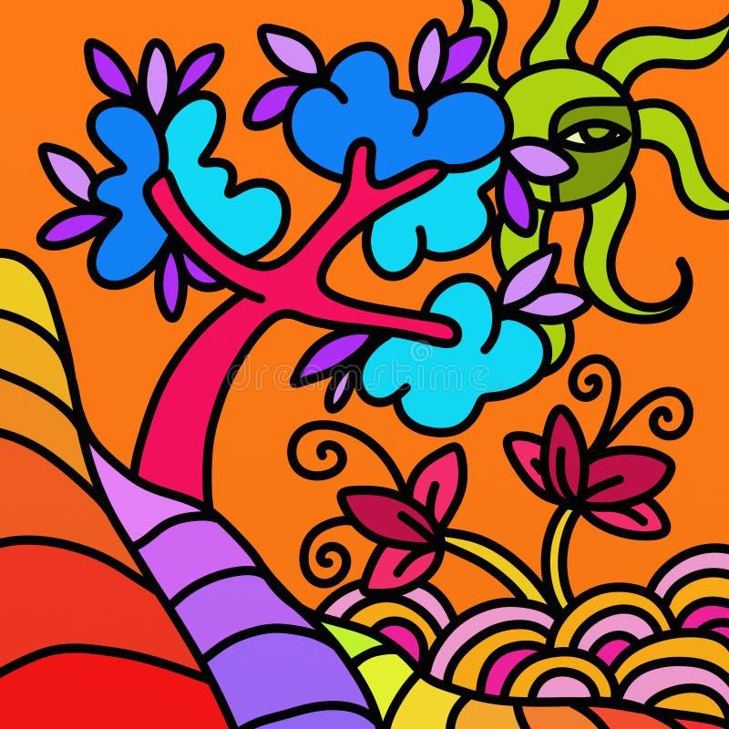 Landskap med det abstrakta trädet vektor illustrationer