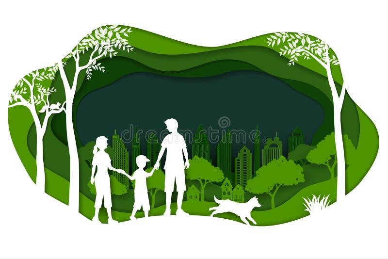Landskap med ecogräsplanstaden och den lyckliga familjen på pappers- konstbakgrund royaltyfri illustrationer
