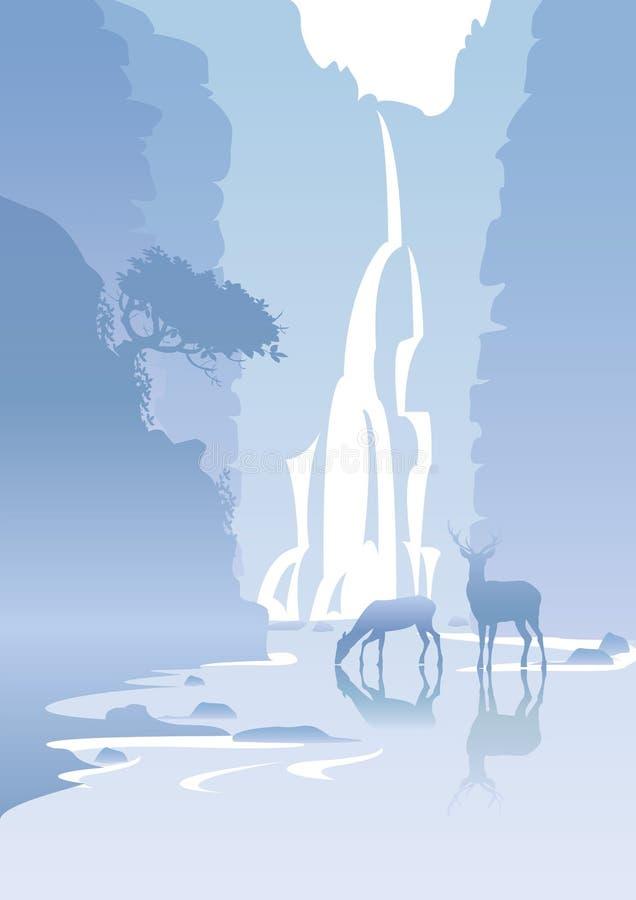 Landskap med en vattenfall royaltyfri illustrationer