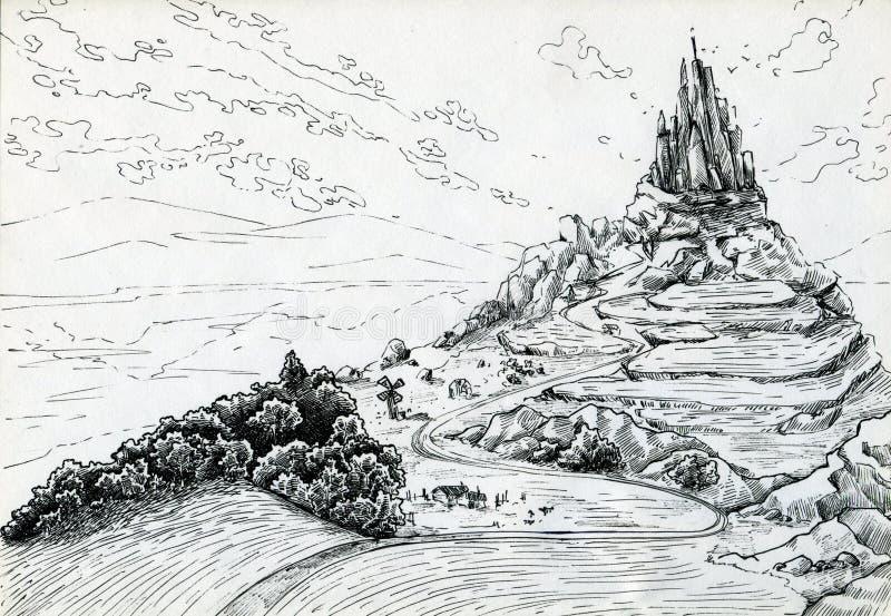 Landskap med fantasislotten stock illustrationer