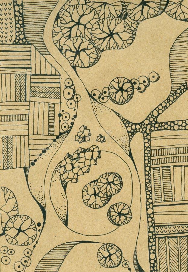 Landskap med floden, ön, träd, vägar och fält Top beskådar vektor illustrationer