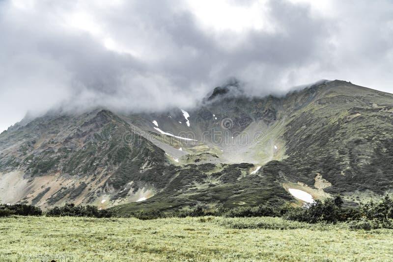 Landskap med gr?na sl?ttar p? den Kamchatka halv?n, Ryssland arkivfoto