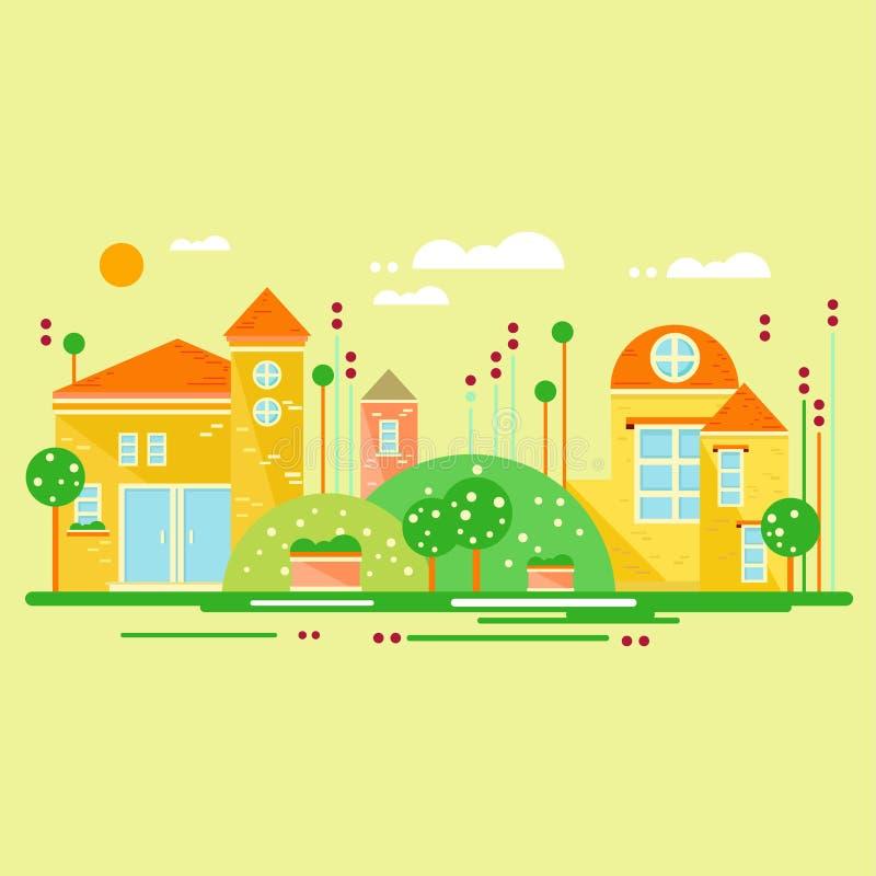 Landskap med gulliga små hus också vektor för coreldrawillustration stock illustrationer