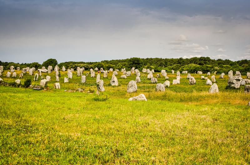 Landskap med historiska menhirs i Carnac, Frankrike fotografering för bildbyråer