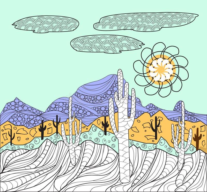 Landskap med kaktus- och bergbakgrund royaltyfri illustrationer