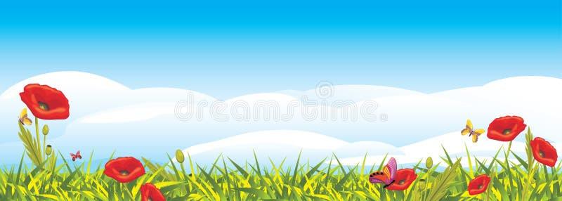 Landskap med röda vallmo stock illustrationer