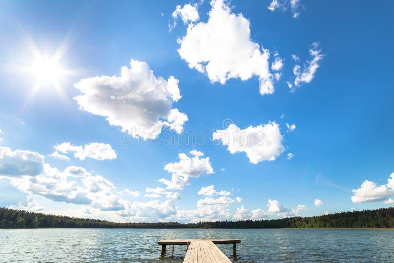 Landskap med sjön i sommar blå sky royaltyfri fotografi