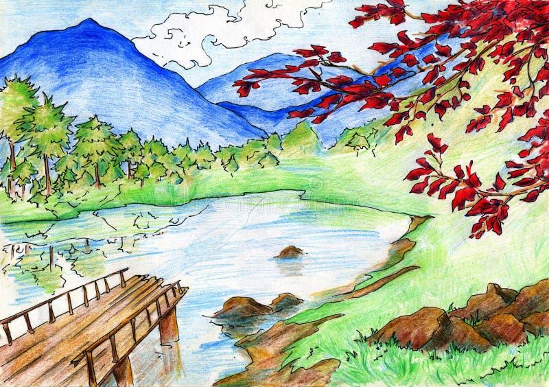 Landskap med sjön och berg royaltyfri illustrationer