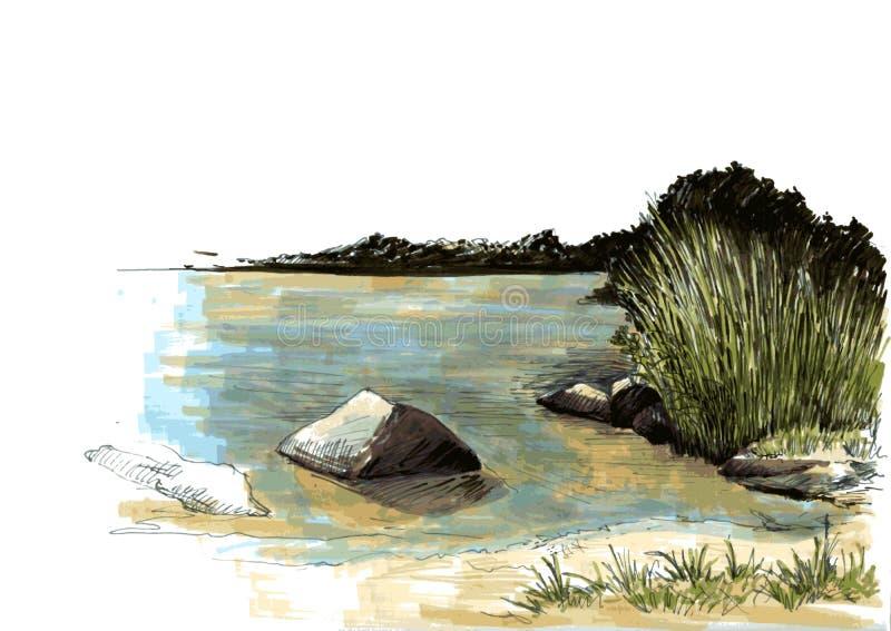 Landskap med sjön och skogen vektor illustrationer