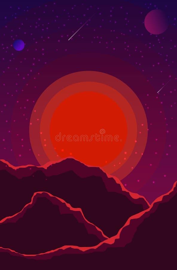 Landskap med solnedgång, planeter och stjärnklar himmel Utrymmelandskap i violetta skuggor, purpurfärgat mot bakgrund field bl?a  vektor illustrationer