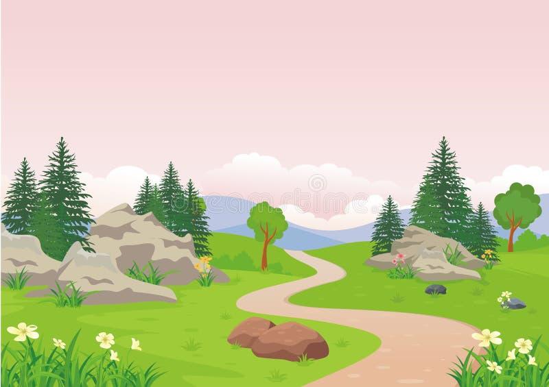 Landskap med stenig älskvärd och gullig landskaptecknad filmdesign för kulle, royaltyfri illustrationer