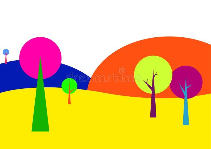 Landskap med träd i ljusa färger royaltyfri illustrationer