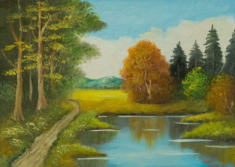 Landskap med träd och en bana längs floden stock illustrationer