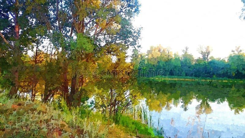Landskap med träd och en sjö i träna i sommaren vektor illustrationer