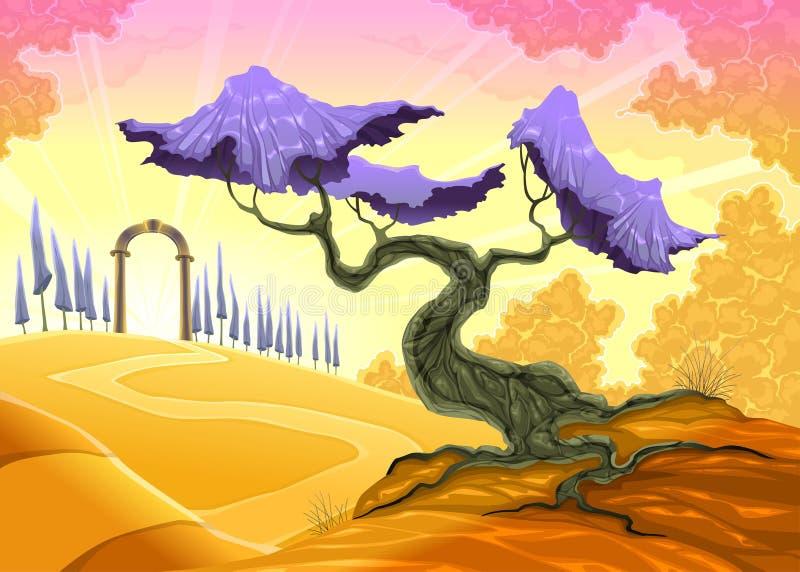 Landskap med trädet och bågen. vektor illustrationer