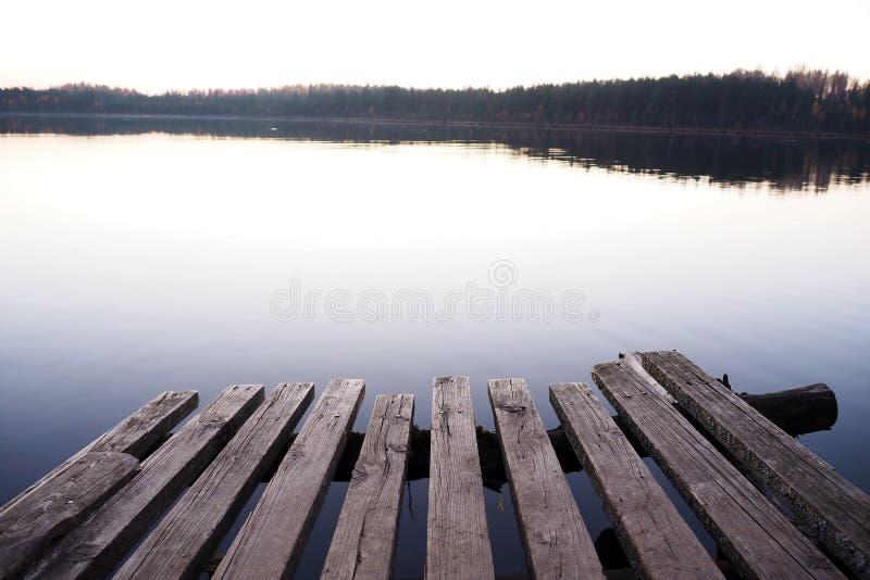 Landskap med träpir som förbiser skogsjön royaltyfri foto