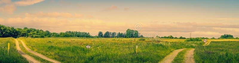 Landskap med två vägar royaltyfri bild