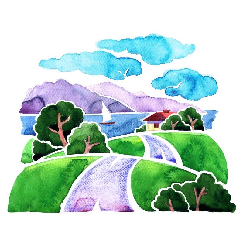 Landskap med vägen, havet, berg och seglingskeppet, vattenfärgillustration stock illustrationer
