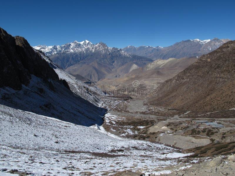 Landskap nära Muktinath, lägre mustangregion, Nepal arkivbilder