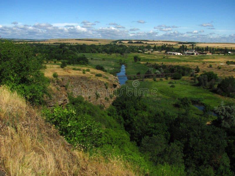 Landskap Naturreserv i Donbass Stäppzon arkivfoton