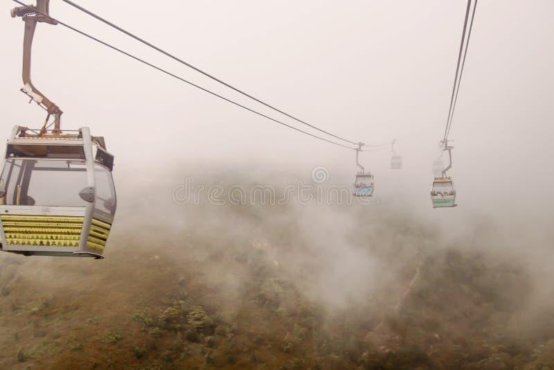 Landskap Nong Ping Cable Car med smog royaltyfri foto