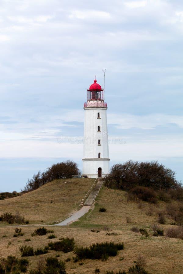 Landskap och fyr Dornbusch på den Hiddensee ön, Tyskland arkivbilder