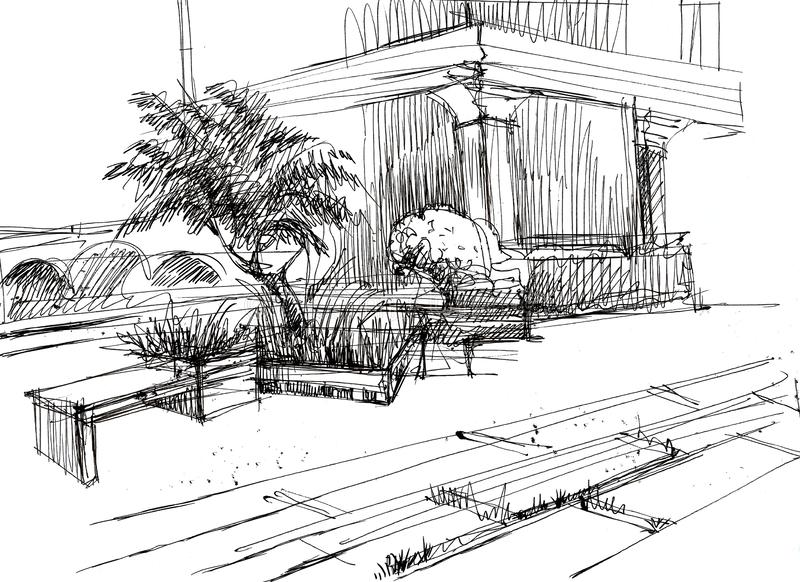 Landskap och landskapdesign av stadens gå område med rabatter, bänkar, träd royaltyfri foto