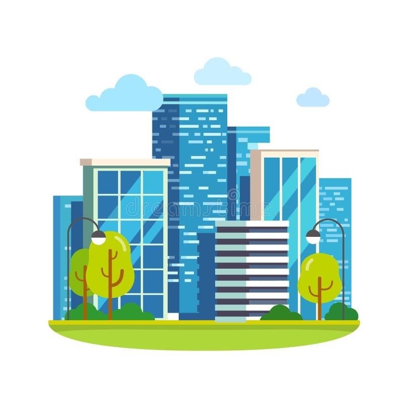 Landskap och skyskrapor för Minimalist stad i stadens centrum vektor illustrationer