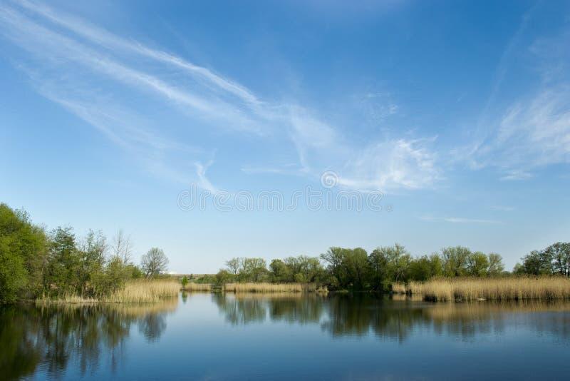 Landskap på floden Govtva i byn Reshetilivka Poltava Ukraina royaltyfria bilder