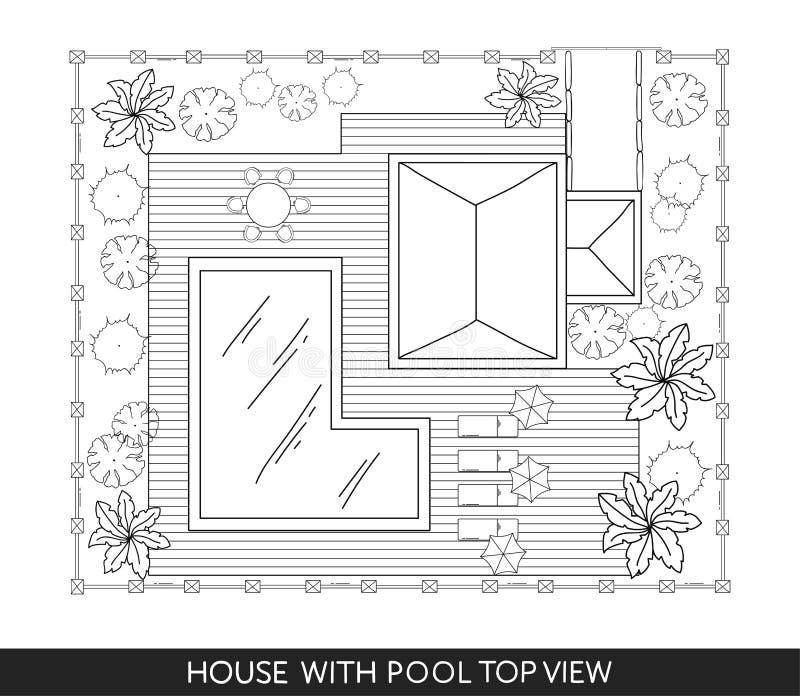 Landskap planet av huset med simbassängen, möblemang och träd i bästa sikt stock illustrationer